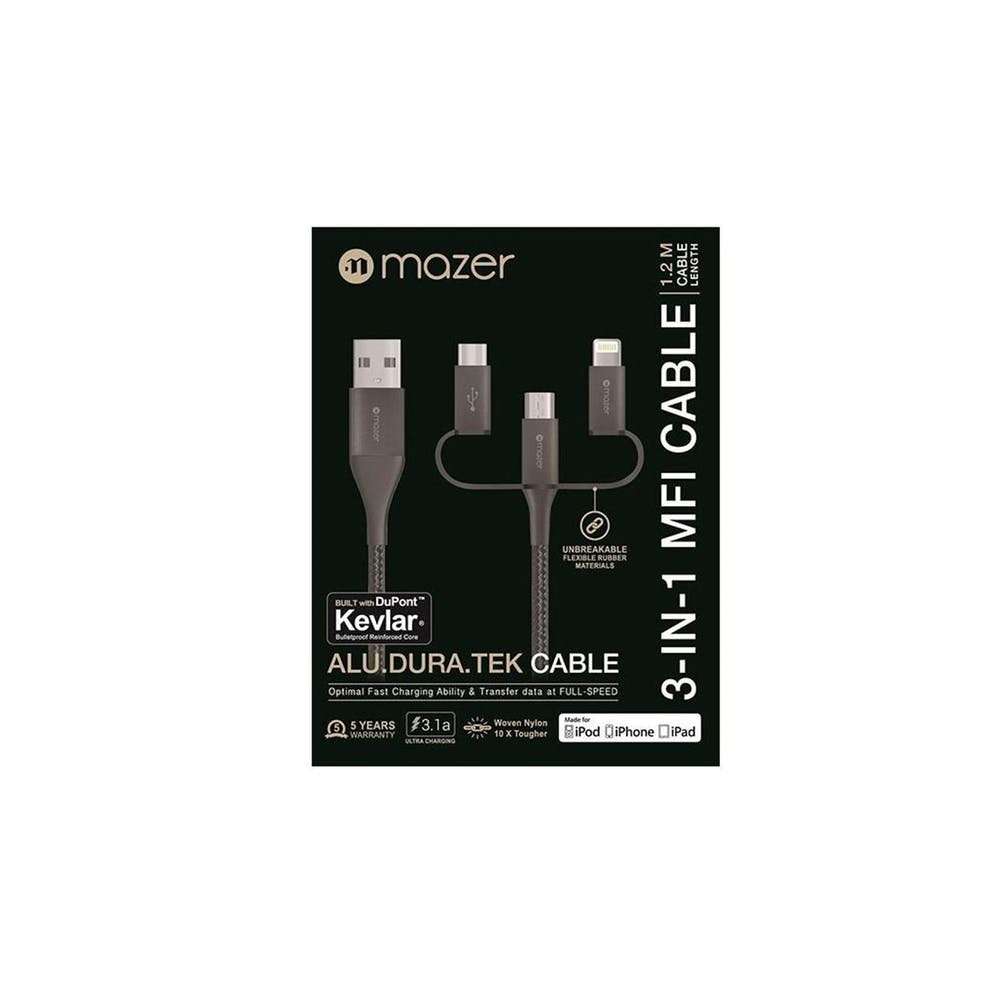 Mazer Nylon 3-In-1 Lightning+Micro USB+USB-C 1.2m/3.1A Cable - Grey