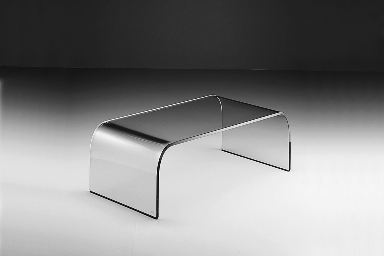 Ponte Curved Glass Coffee Table by Angelo Cortesi for Fiam Italia