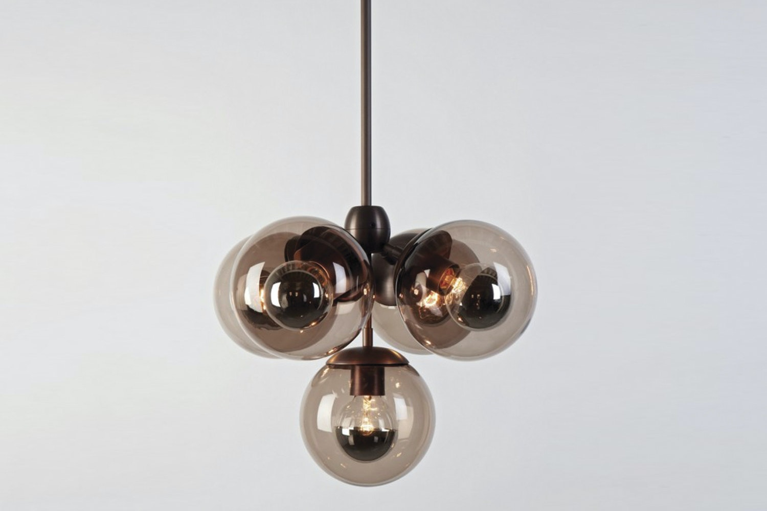 Modo Pendant Black, Smoked Suspension Lamp by Jason Miller for Roll & Hill