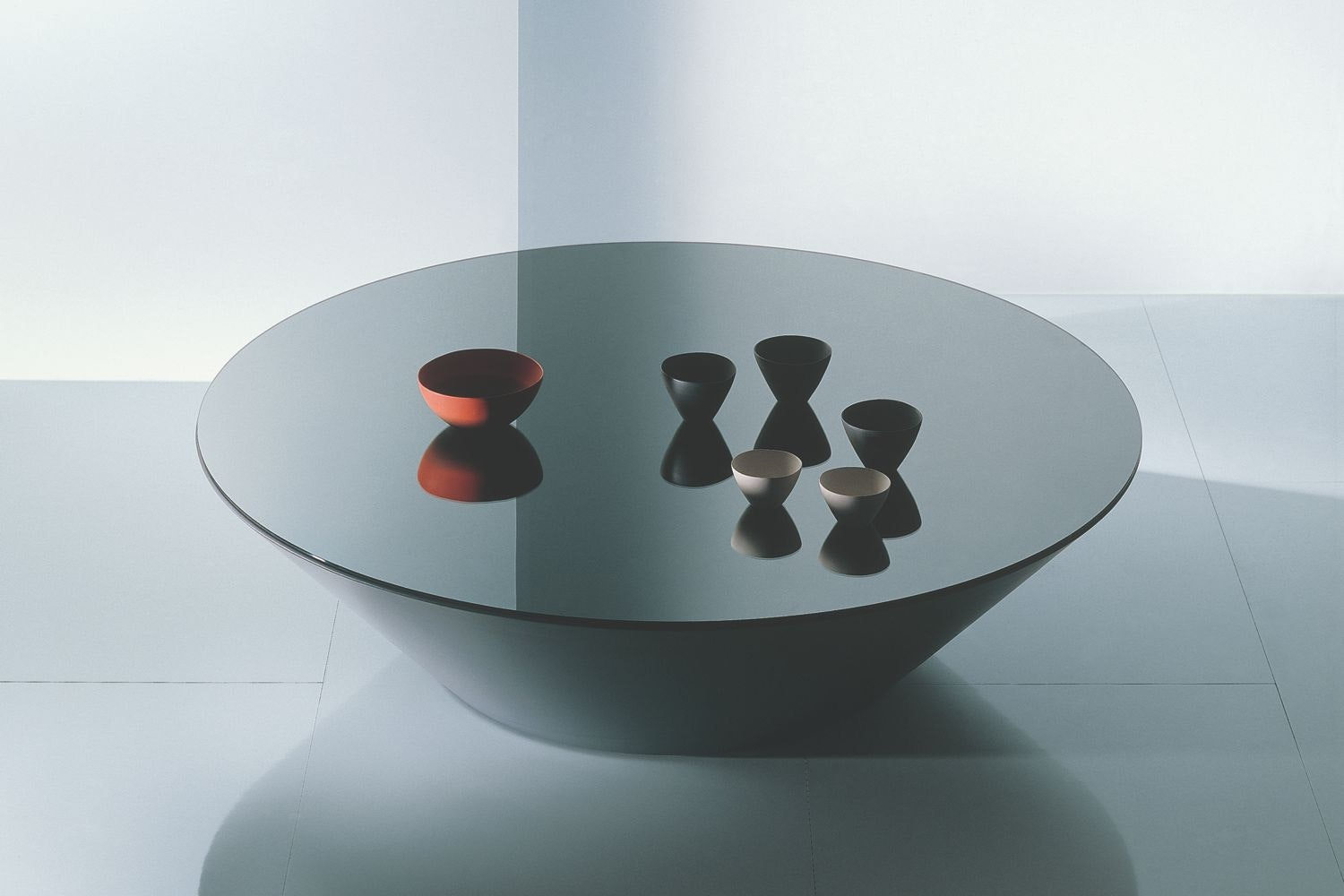 Pond in Slate Grey Glass Coffee Table by Marco Acerbis for Acerbis