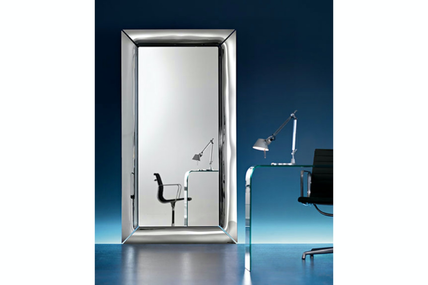 Caadre Standing Mirror 105x195cm in Titanium by Philippe Starck for Fiam Italia