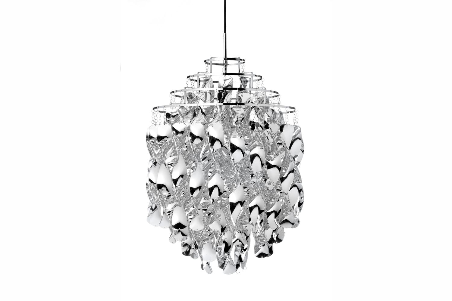 Spiral Pendant Lamp in Silver by Verner Panton for Verpan