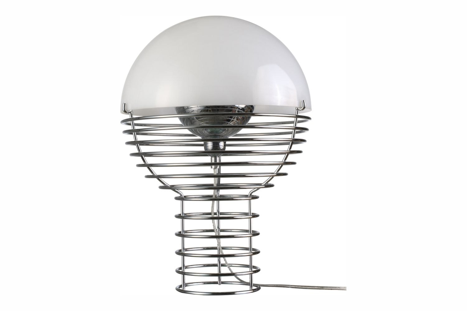 Wire Small Table Lamp in White by Verner Panton for Verpan