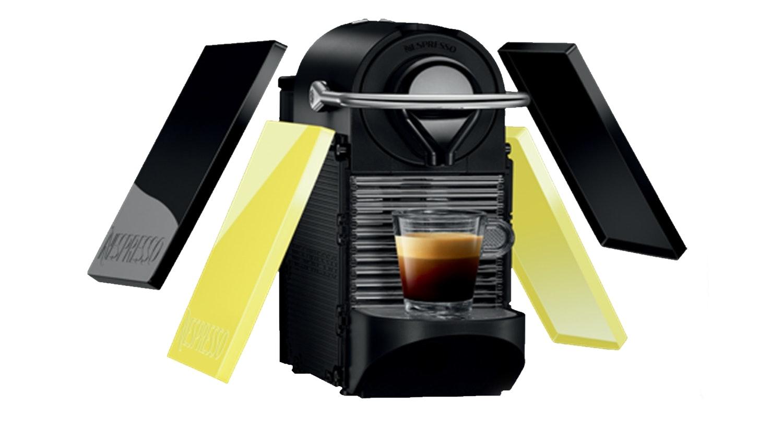 nespresso pixie clips coffee machine black and yellow