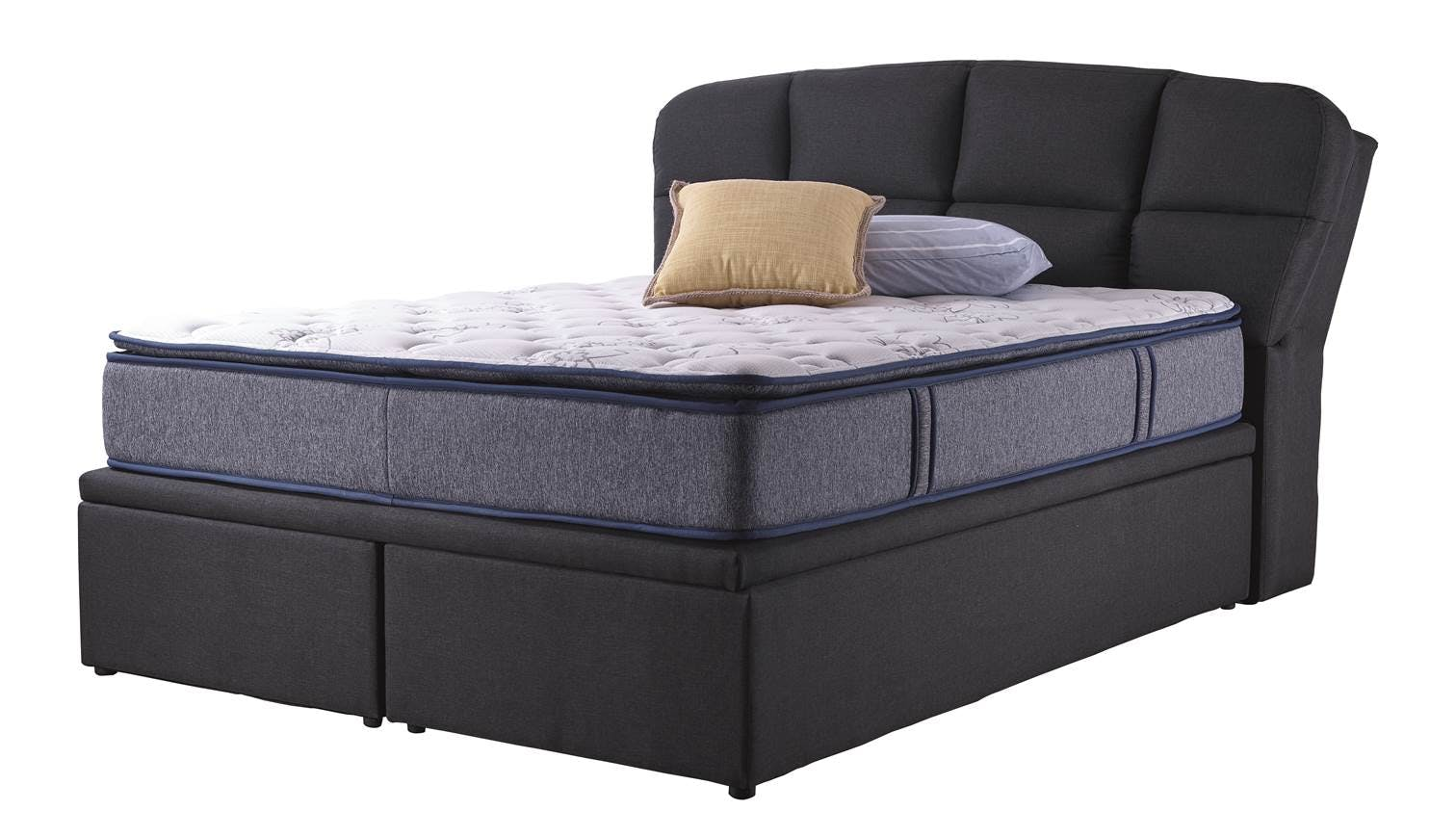 dortmund queen size storage bed frame colour black stone also available in king size. Black Bedroom Furniture Sets. Home Design Ideas