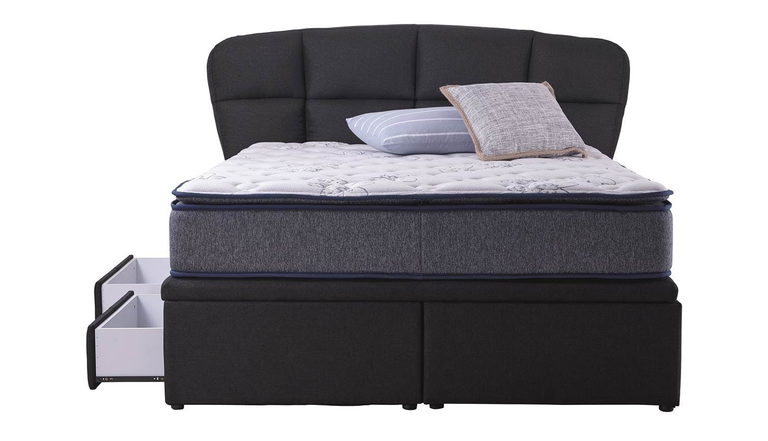 Dortmund Queen Size Storage Bed Frame Colour Black Stone