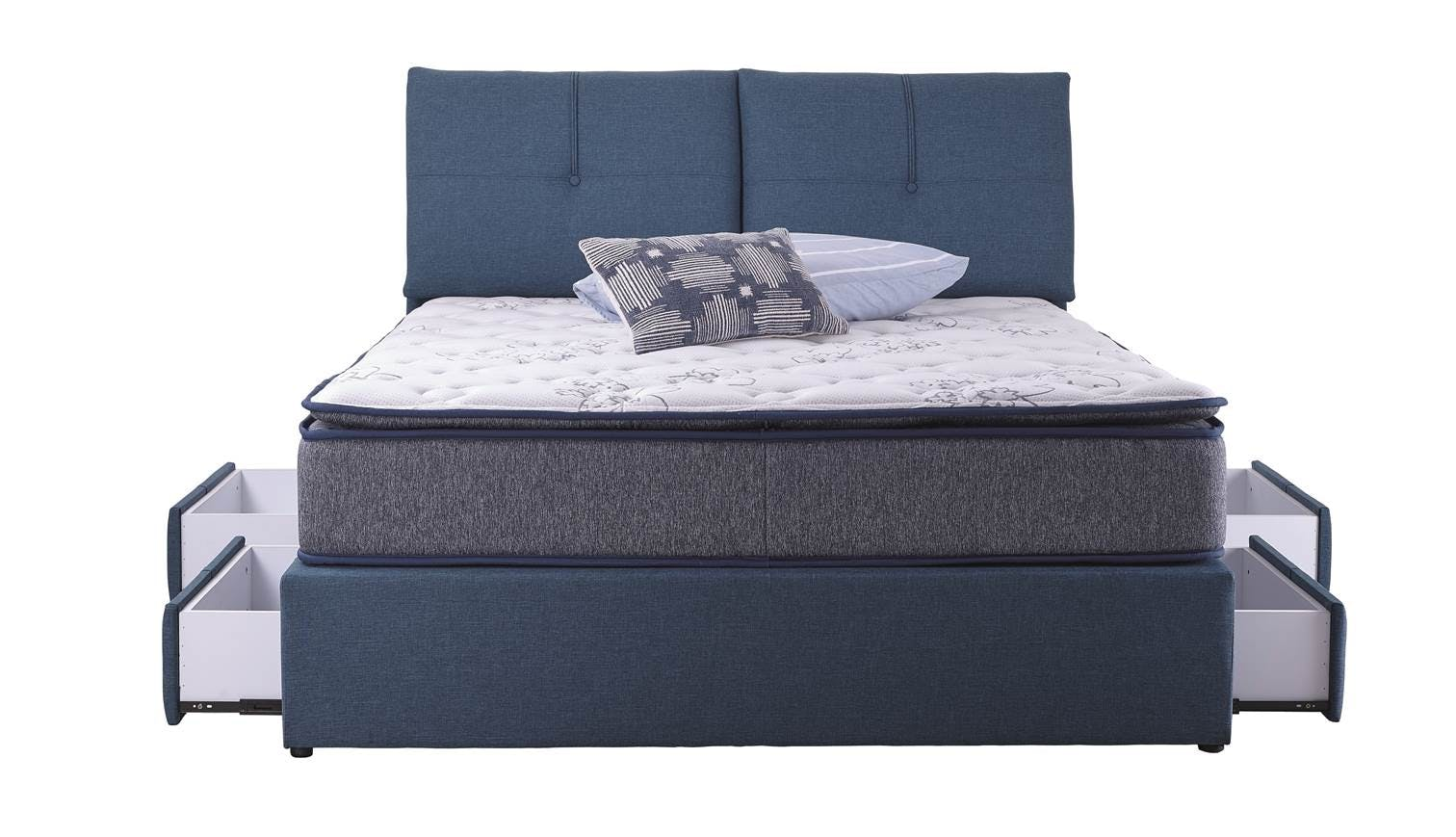 indiana queen size storage bed frame colour fresco blue also available in king size harvey. Black Bedroom Furniture Sets. Home Design Ideas