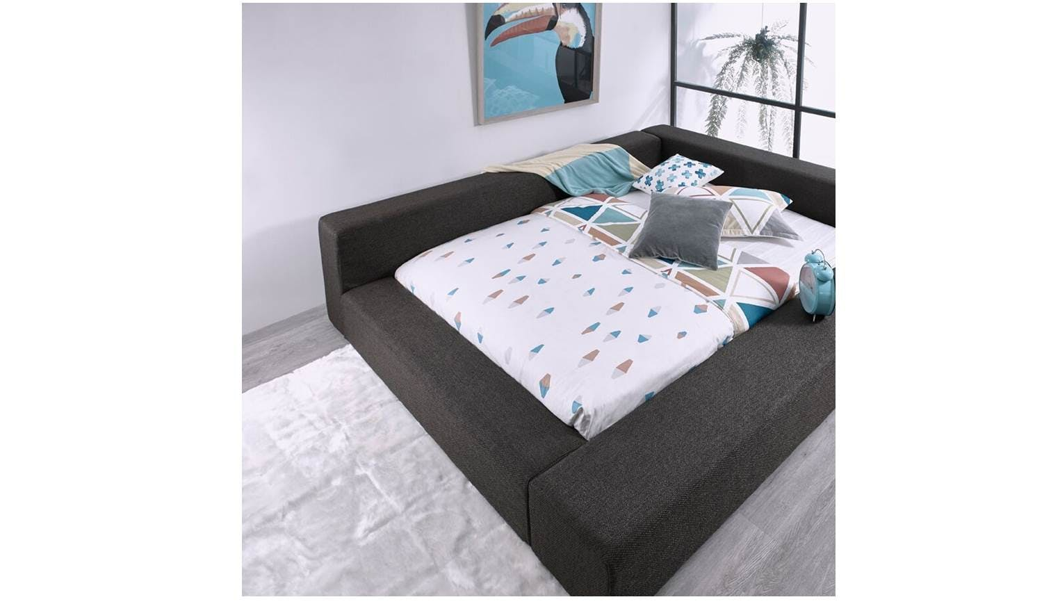 Derry Warwick Fabric Bed Frame - Queen Size | Harvey Norman Singapore