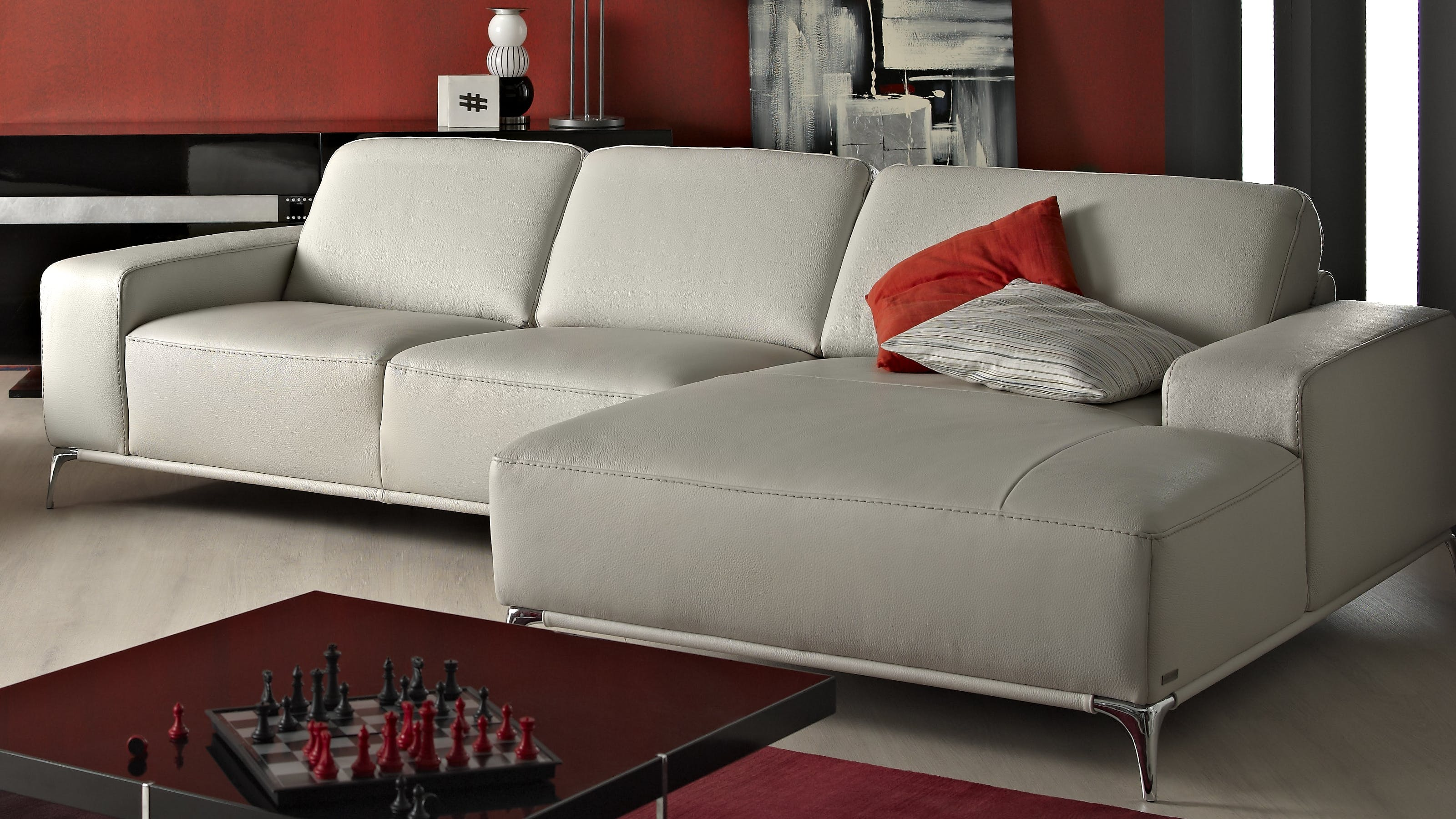 Saporini artemi full leather 2 5 seater sofa with chaise for 2 seater chaise sofa
