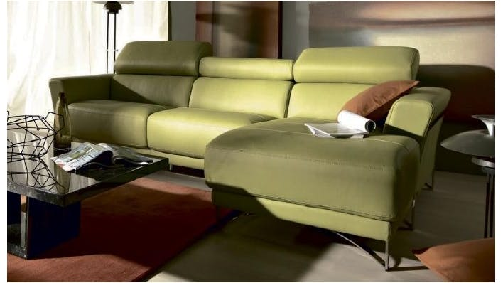 Saporini azelia full leather 3 seater sofa with chaise for 3 seater with chaise lounge