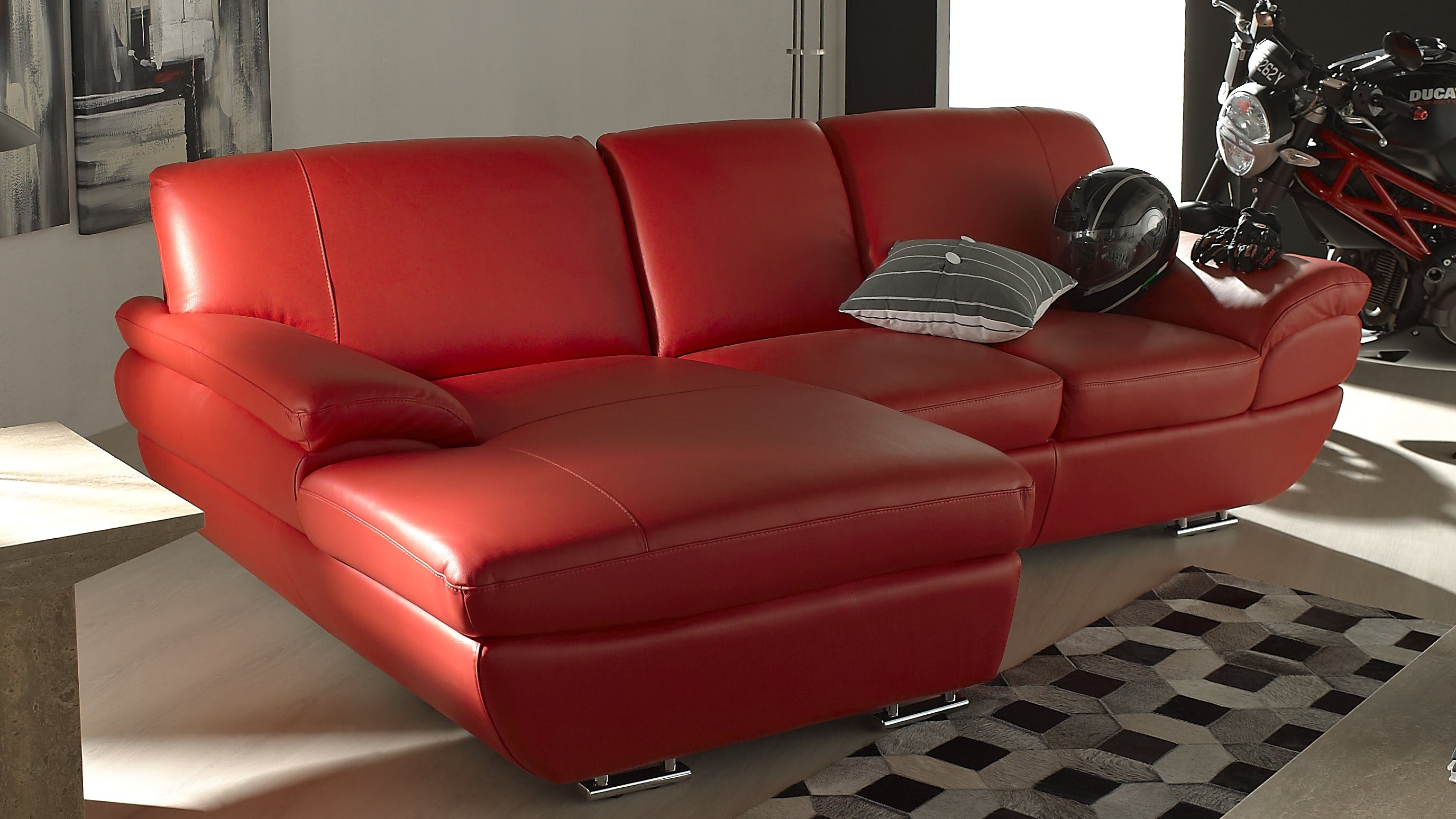 Saporini marta full leather 2 seater sofa with chaise for 2 seater chaise sofa