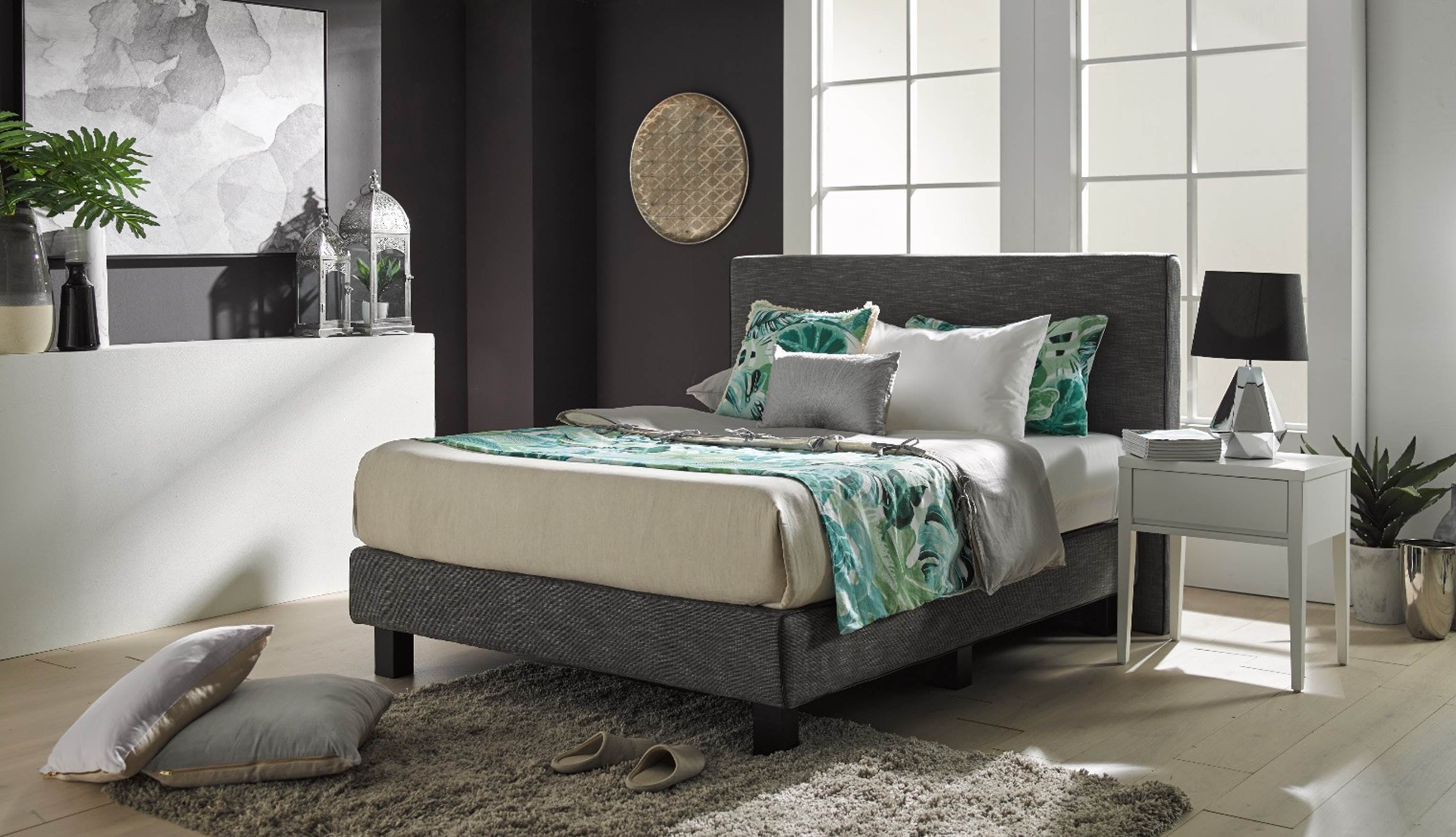 Bargo Queen Size Bed Frame in Fabric Upholstery | Harvey ...