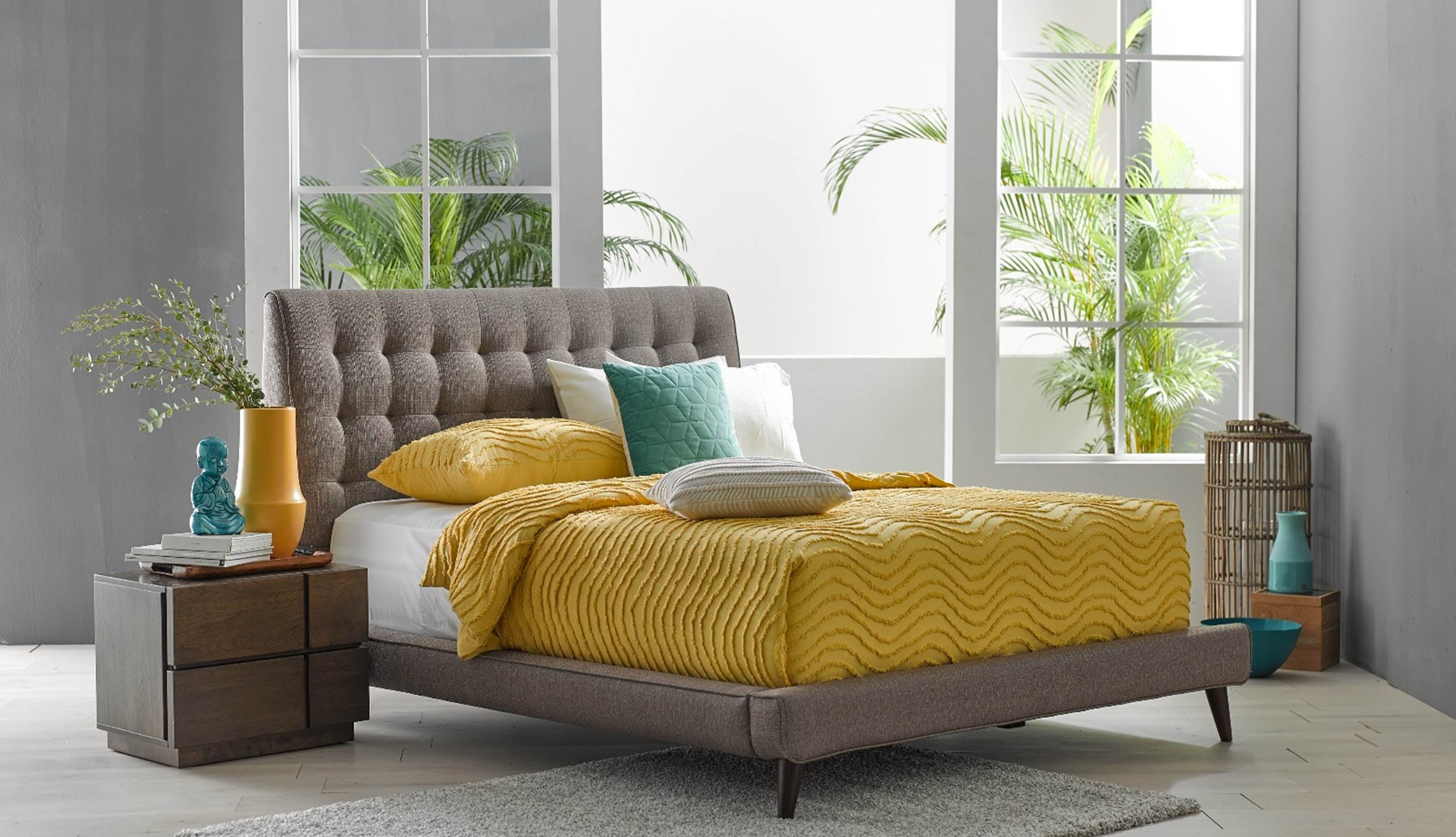 6f75806edd9e6 De Fabio Queen Size Bed Frame in Fabric Upholstery