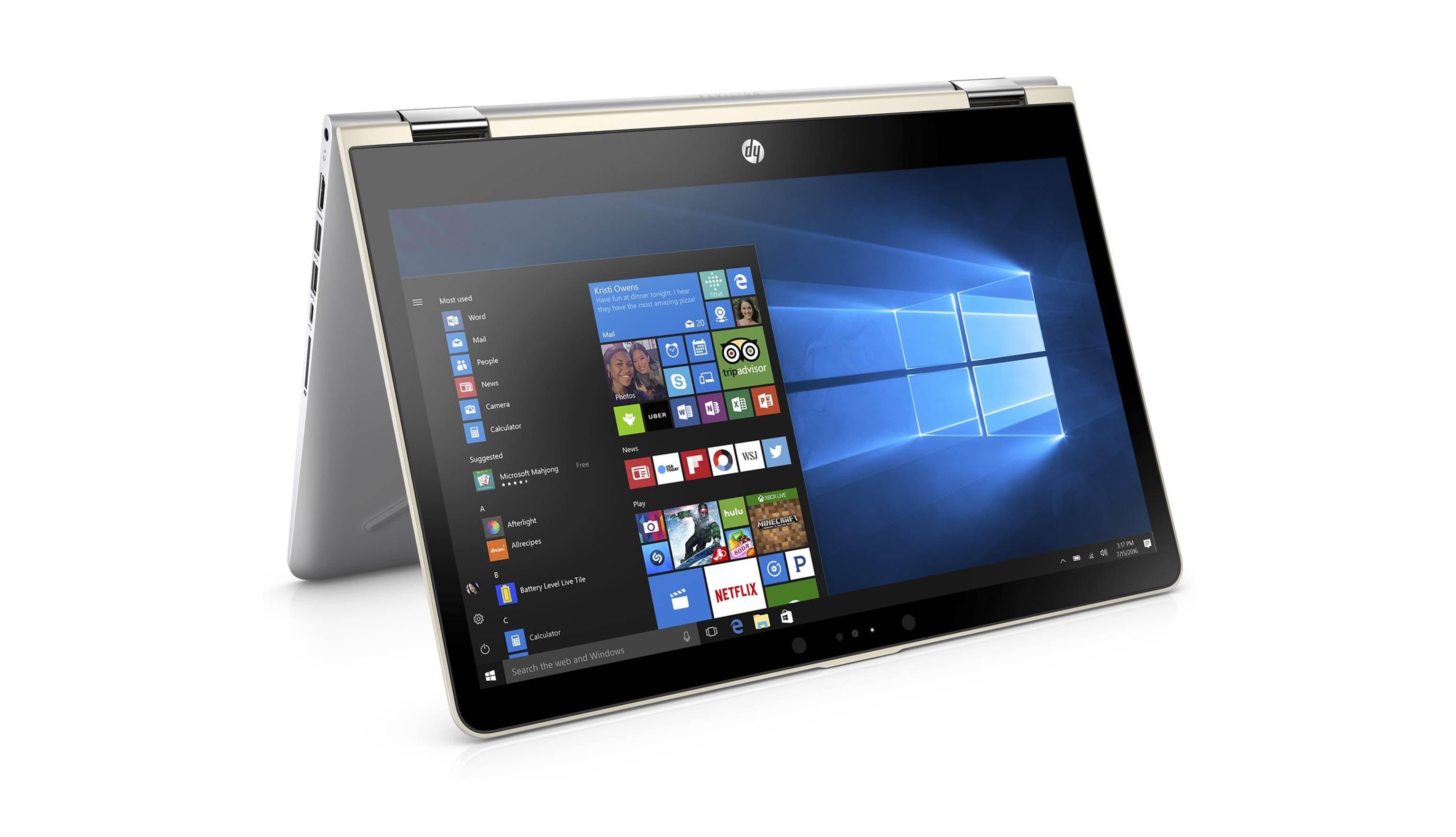 HP Pavilion x360 BA109TX 14 i7 Laptop - Silk Gold - Front Twist
