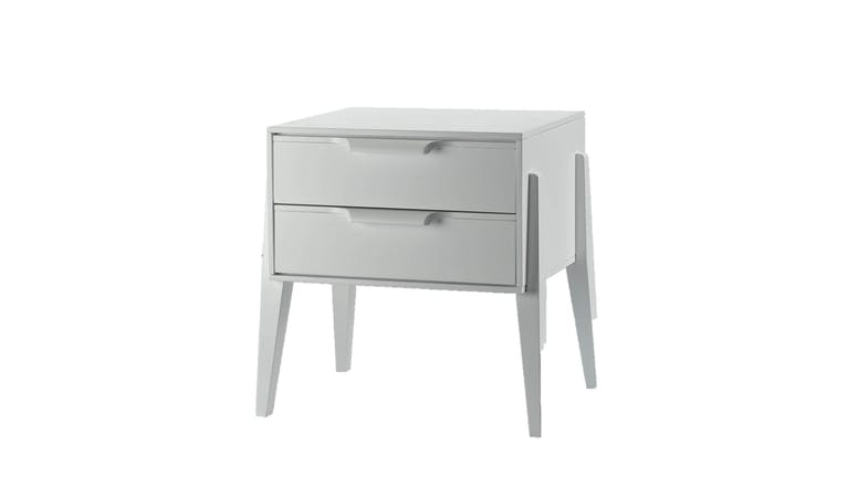 Lolita Bedside Table White - Rubber  Wood Front View