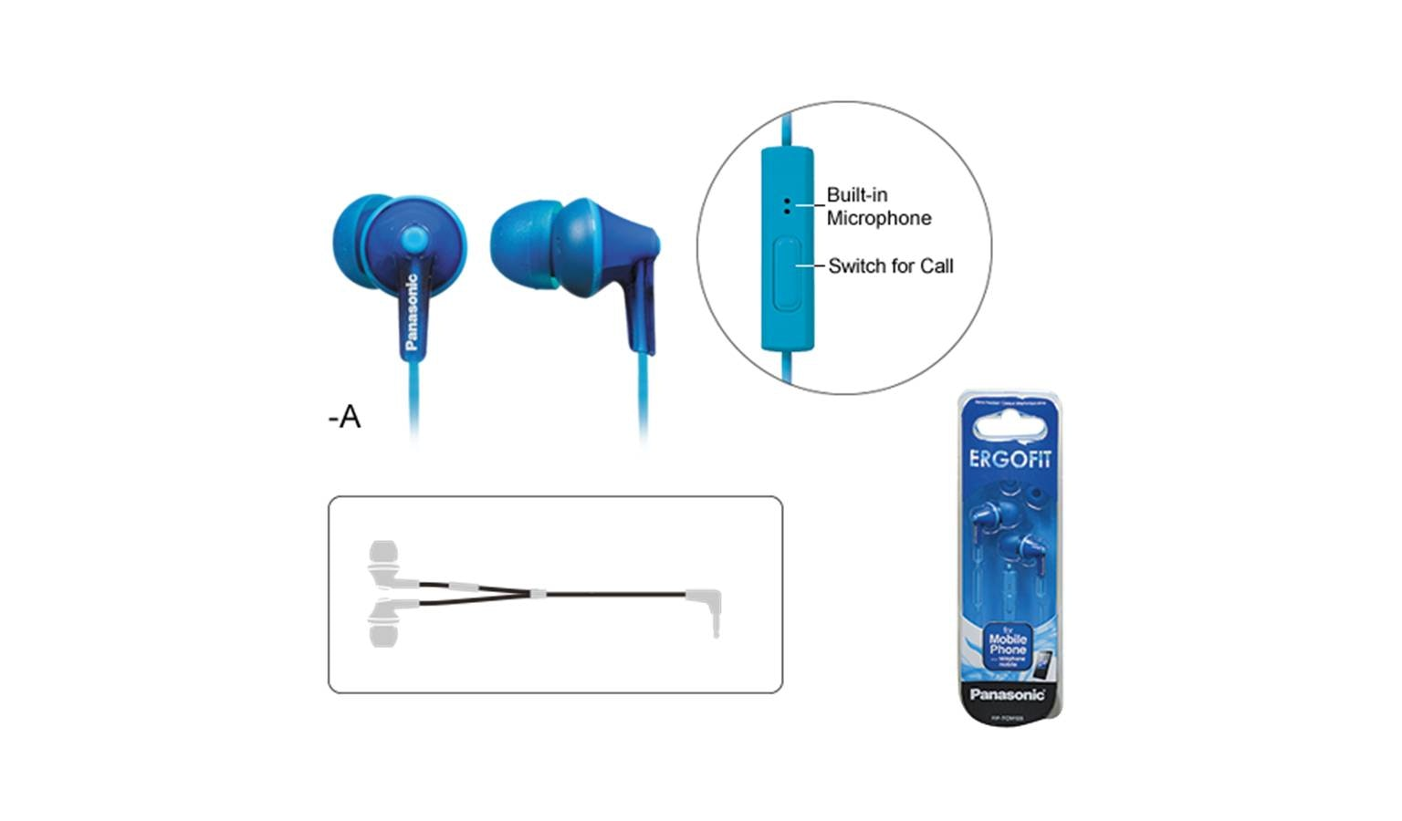 Panasonic RP-TCM125E-A In-Ear Headphone - Blue - 01