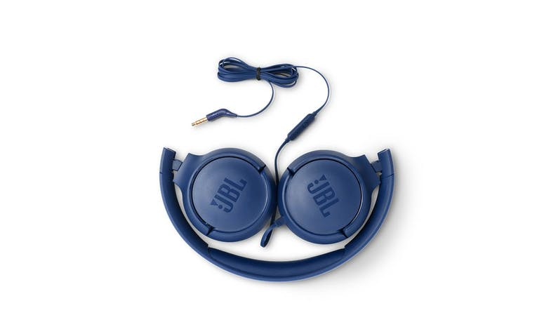 JBL Tune 500 Wired On-Ear Headphones - Blue (Fold)