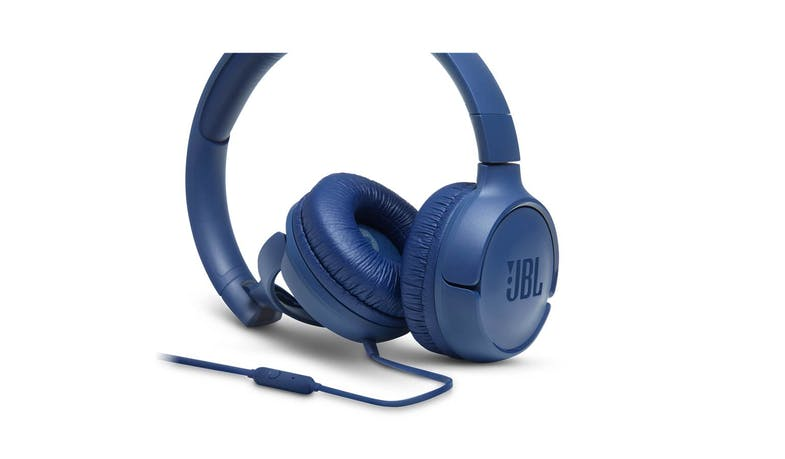 JBL Tune 500 Wired On-Ear Headphones - Blue (Detail)