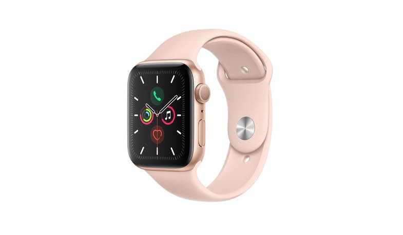 Apple Watch Series 5 GPS (MWVE2) Gold Aluminium 44mm Case - Pink Sand Sport Band (Main)