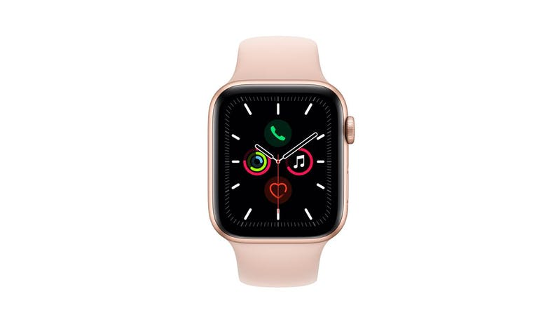 Apple Watch Series 5 GPS (MWVE2) Gold Aluminium 44mm Case - Pink Sand Sport Band (Front)