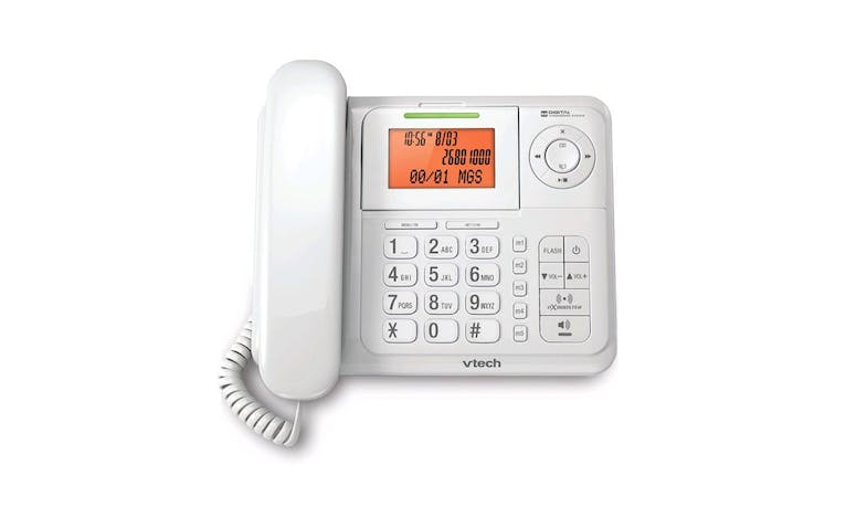 VTech CS6147 Digital Cordless/Corded Combo Phone with Answering System - White