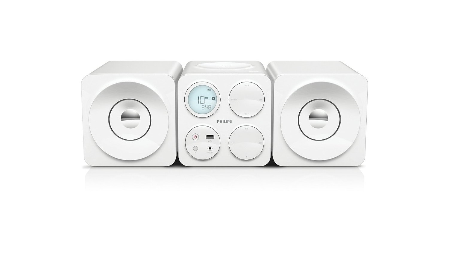 Philips Cube Micro Sound System White Harvey Norman