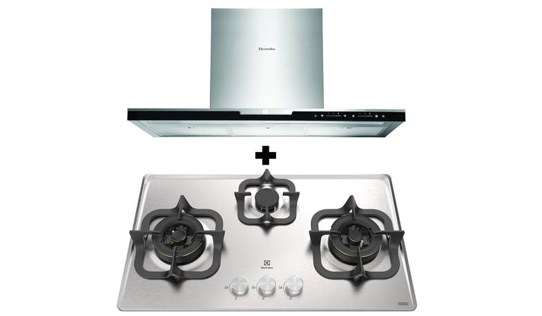 Electrolux EHG735SP 3-Burner PUB Gas Hob + EFC926BAR Inspiration Chimney Hood