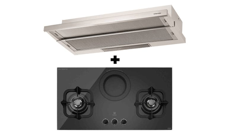 Electrolux EHG9360BS 2-Burner Gas Hob with Electric Steamer + EFP9520X 90cm Telescopic Hood