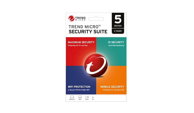 Trend Micro Security Suite Software - 5 Devices 2 Years