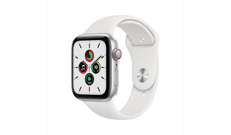 Apple Watch SE MYEV2ZP 44mm 4G Silver Aluminium Case Sport Band Smartwatch - White - Main