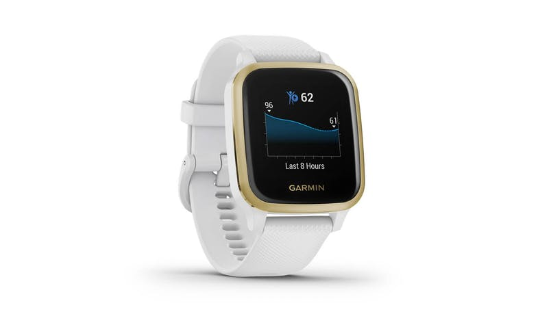 Garmin Venu Sq 0242781 Light Gold Aluminium Smartwatch - White - Facing Right