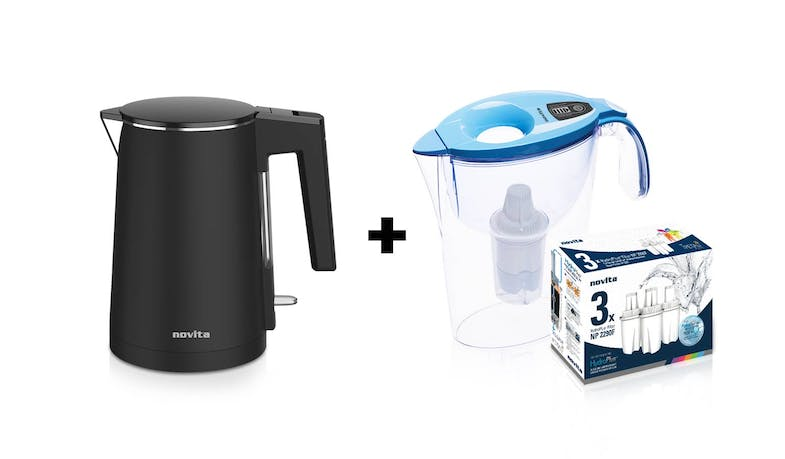 Novita NK3 Water Kettle + NP2290 Water Pitcher Bundle (Assorted Colours) - Bundle