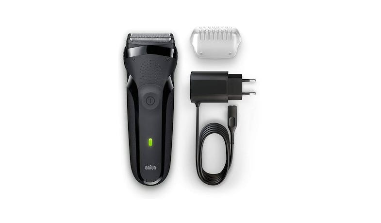 Braun Series 3 300s Rechargeable Electric Shaver - Black (Full set View)