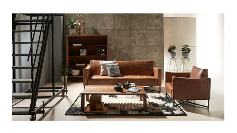 Onda Italian Leather 3 Seater Couch