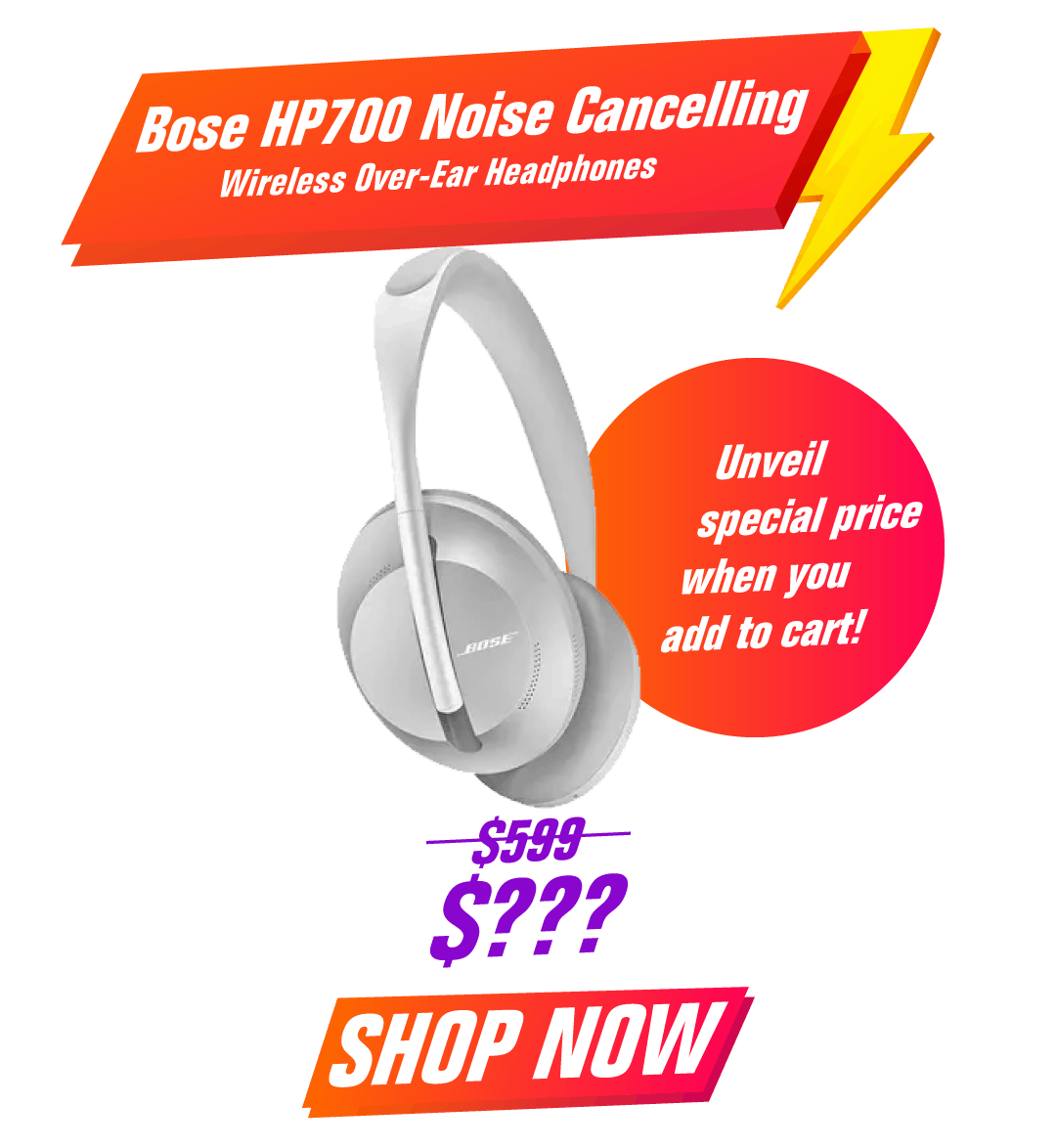Bose HP700 Noice Cancelling Wireless Over-Ear Headphones - Luxe Silver