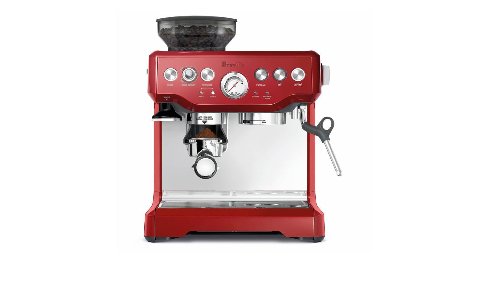 Breville The Barista Express Coffee Machine Bes870 Cranberry Red