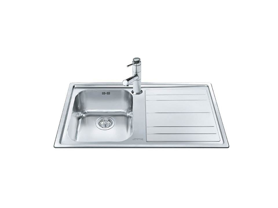 Smeg Single Bowl Single Right Hand Drainer Inset Sink | Harvey ...