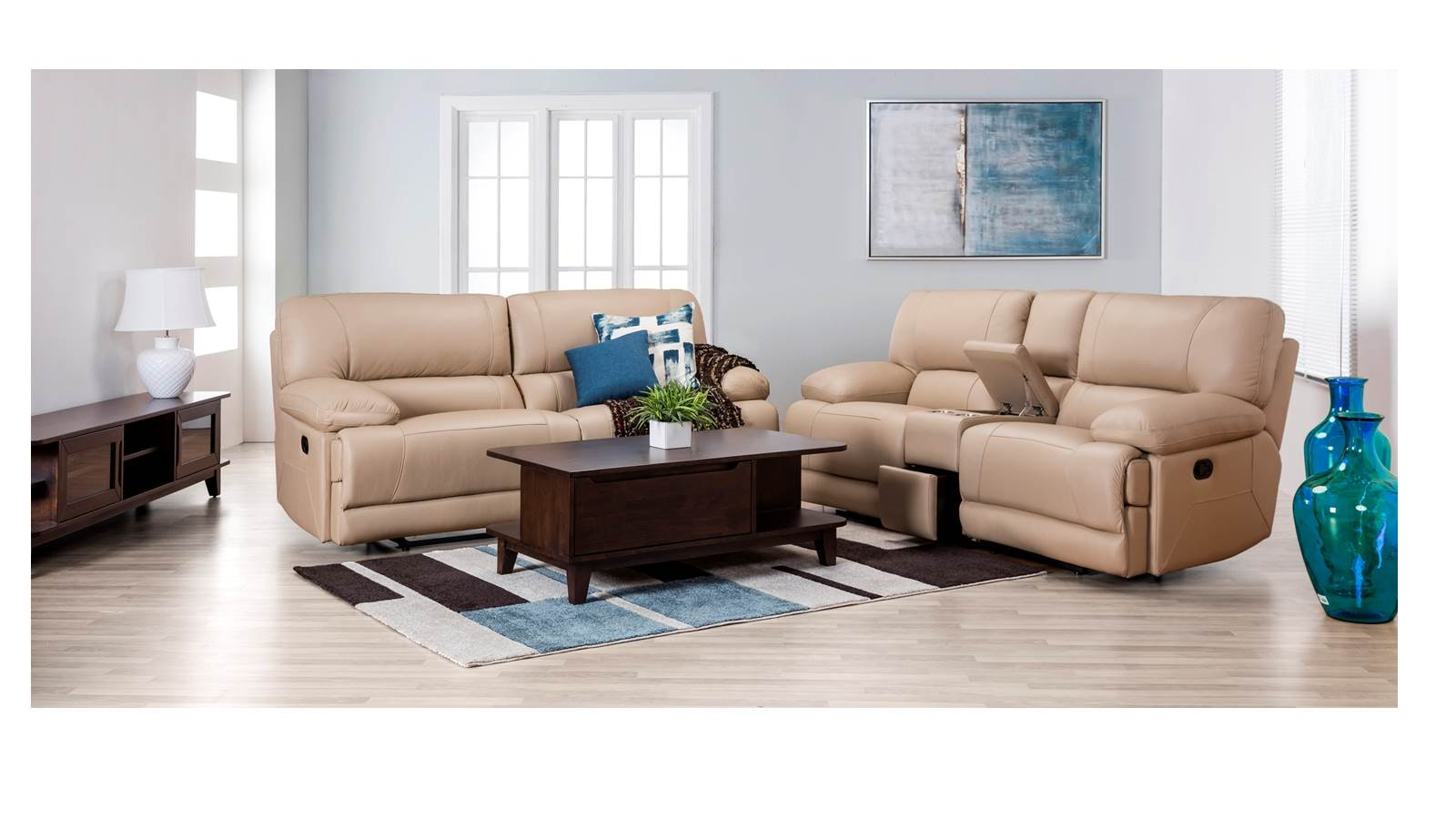 Cuboh 3 2 W Storage Full Leather Recliner Sofa Set Harvey  ~ Leather Reclining Sofa Set