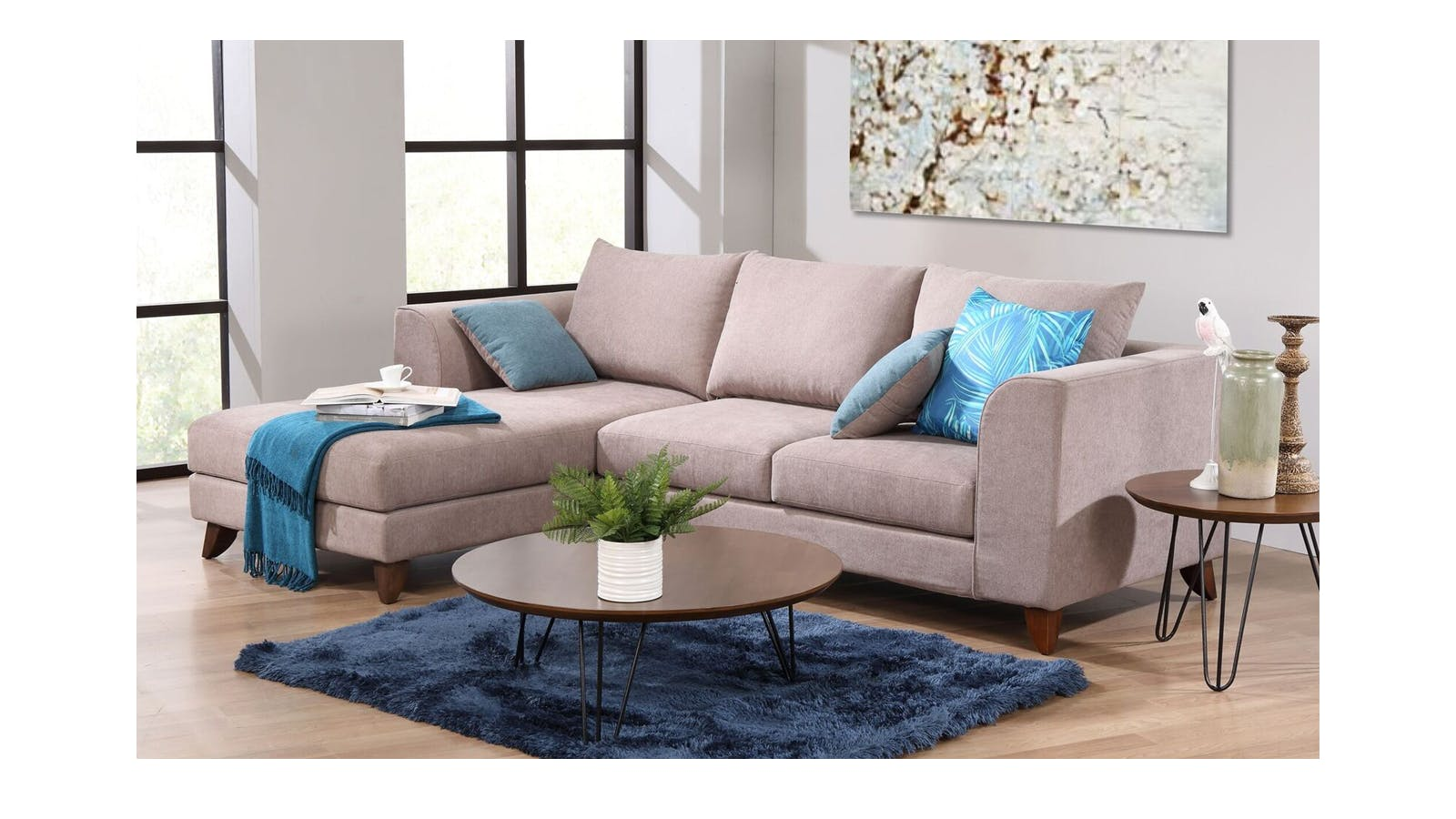 Marini L Shape Washable Fabric Sofa