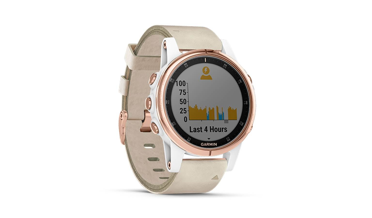 Garmin Fenix 5s Plus Smartwatch Rose Gold With Beige Leather Band