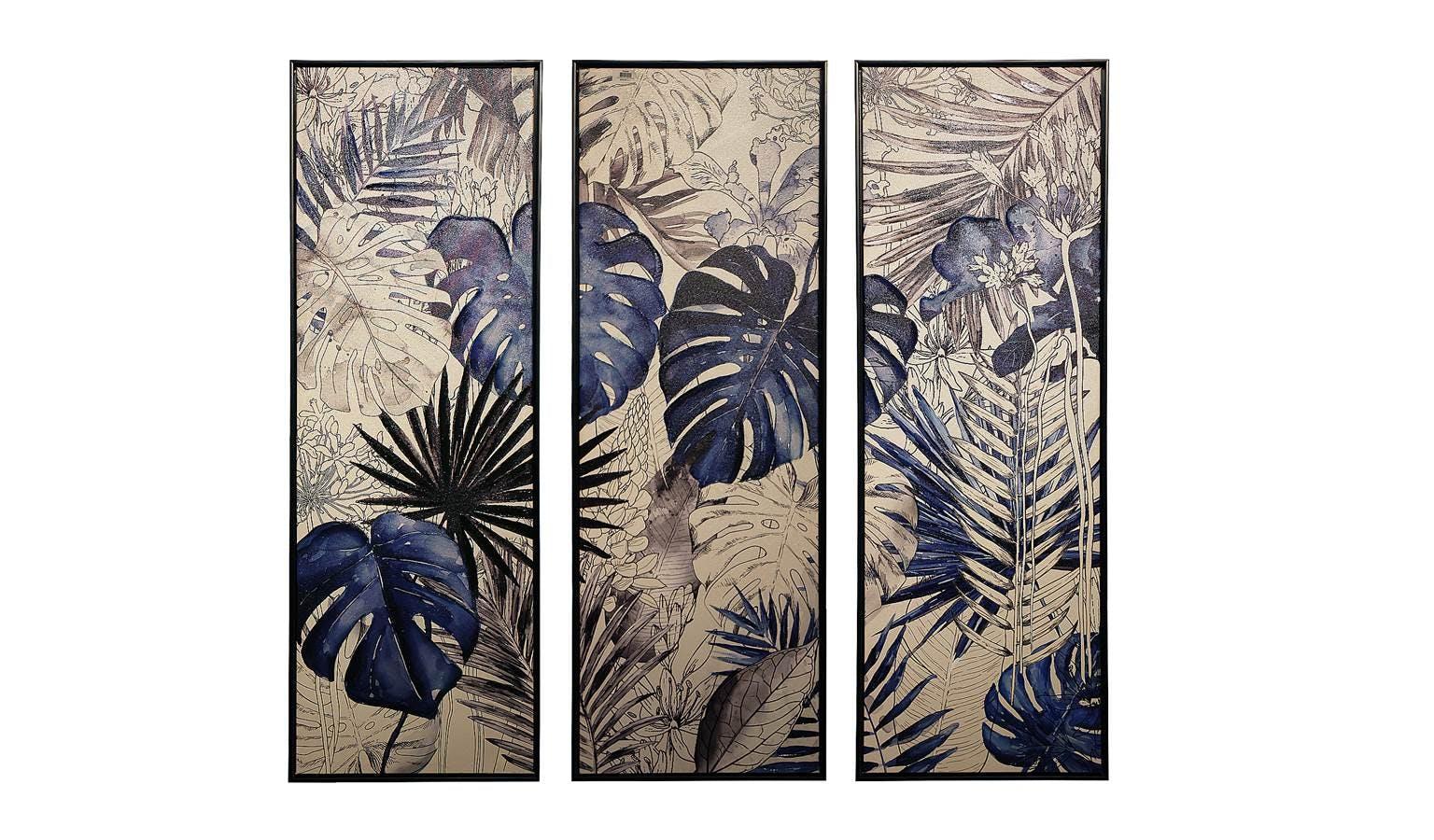 Set 3 Blue Jungle Palms Framed Canvas Wall Art Harvey Norman Malaysia