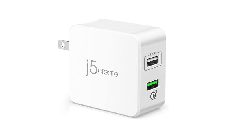 J5 Create JUP20 2-Port USB QC 3.0 Charger - White - 01