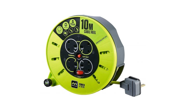 Masterplug 10M Cassette Cable Reel - Green - 01