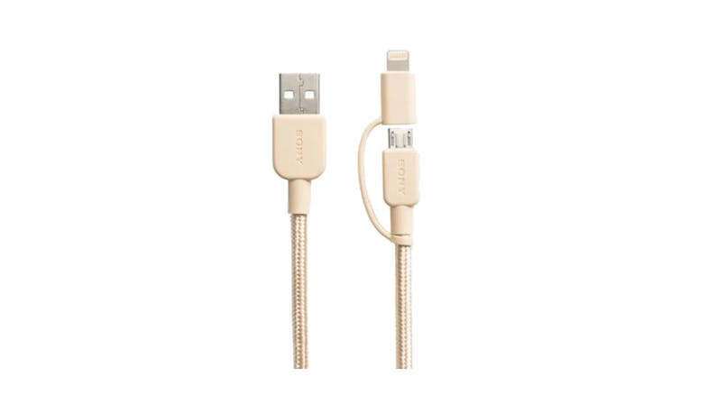 Sony  Premium 2-in-1 Lightning and Micro USB cable - Gold-01