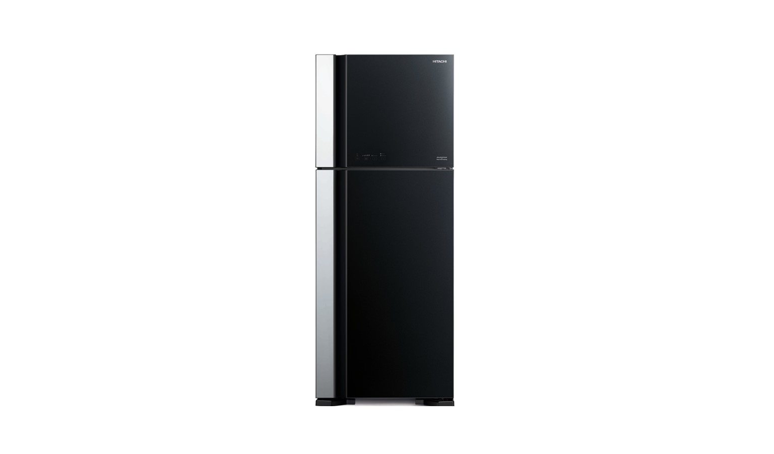 Hitachi R-VG580P7M-1 GBK 489L 2 Door Fridge - Glass Black