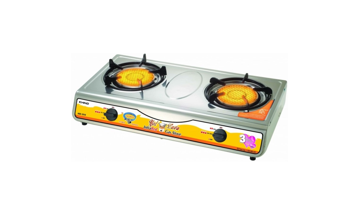 Khind IGS1515 Infrared Hot Lava Gas Stove - Stainless Steel