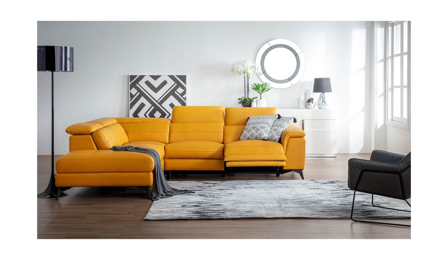 Sunny Full Leather L-Shape Sofa | Harvey Norman Malaysia