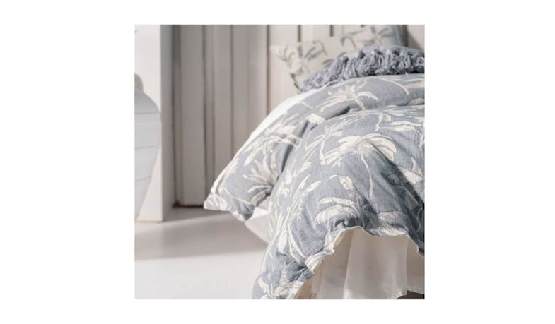Linen House Tropea King Quilt Cover Set - Denim